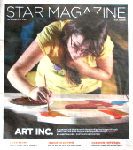 Star Magazine cover: teen holds her hair out of the way as she paints bench.